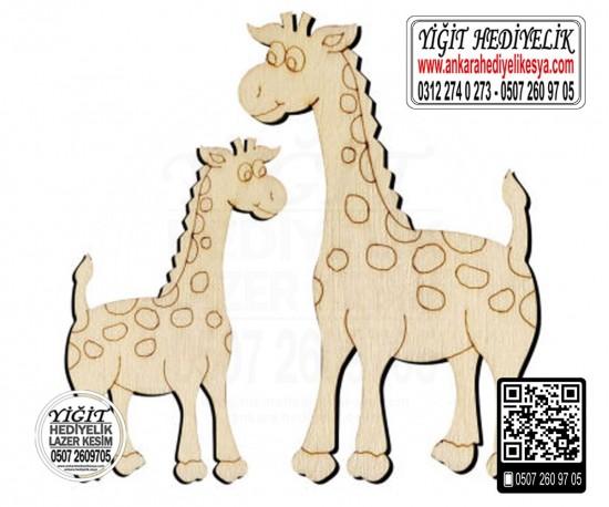 Zürafa Ahşap Obje