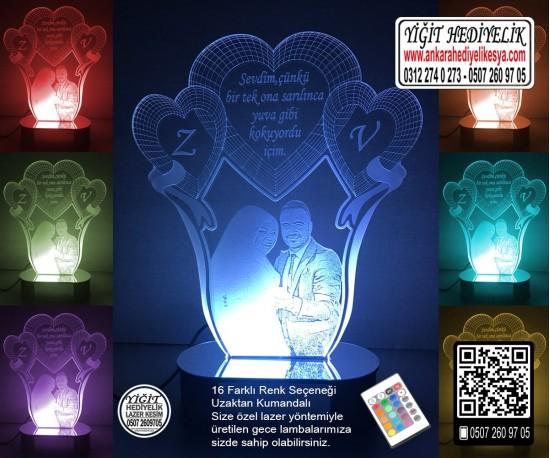 3D Kalpli Resimli Lale Lamba